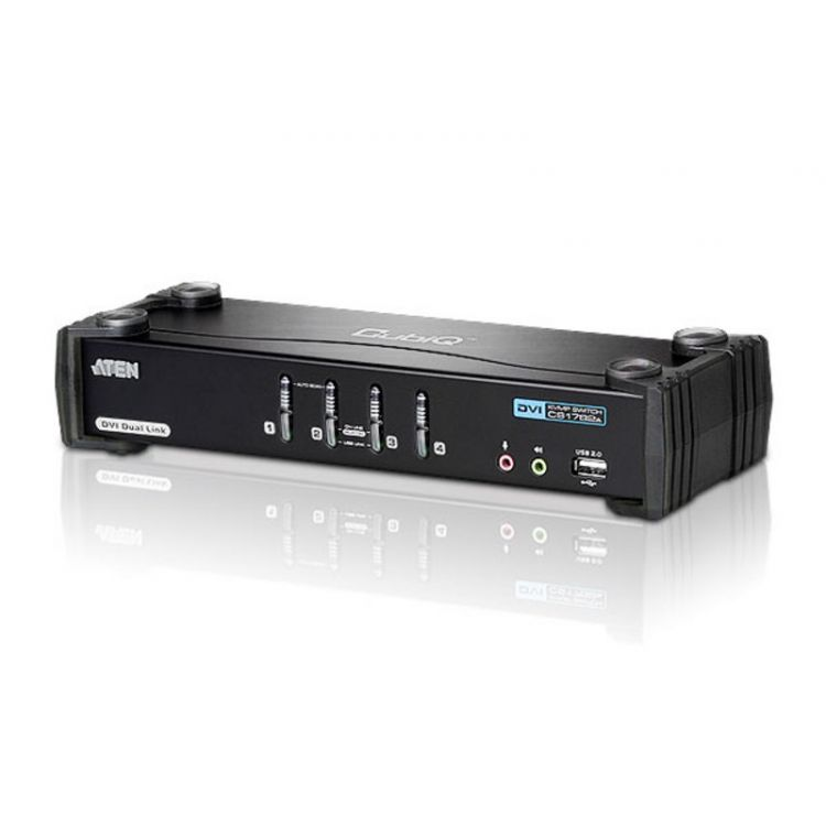 4 port Dual-Link DVI / USB 2.0 KVMP Switch with Audio Support (4 KVM Cables included)