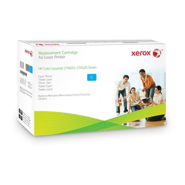 Xerox Cyan toner cartridge. Equivalent to HP CE261A. Compatible with HP Colour LaserJet CM4540 MFP, Colour LaserJet CP4025, Colour LaserJet CP4525