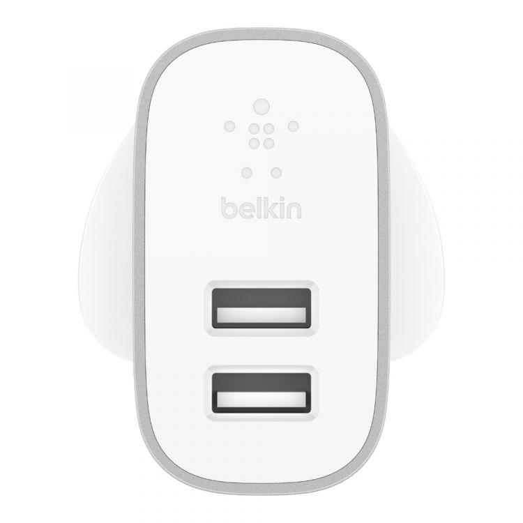 Belkin F7U049MYSLV mobile device charger Indoor Silver,White