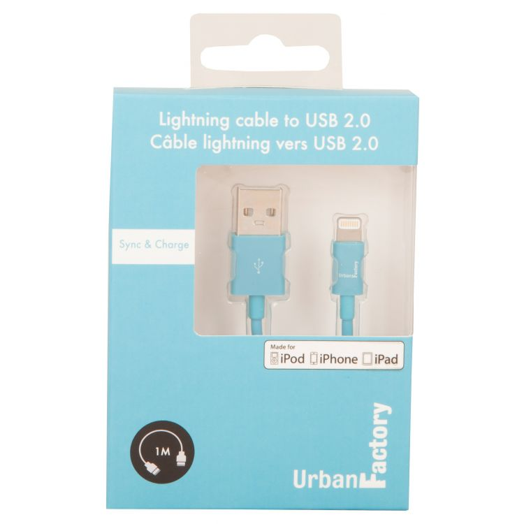 Urban Factory Cable USB to Lightning MFI certified - Blue 1m (retail packaging)