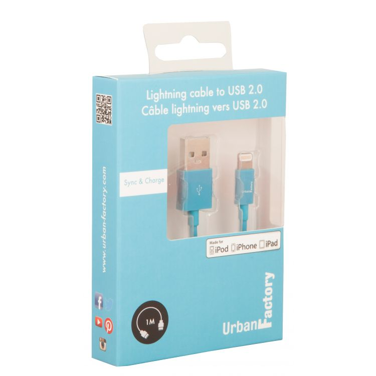 Cable USB to Lightning-Blue 1m