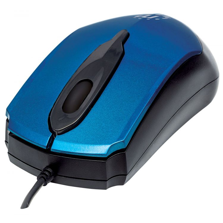 Manhattan Edge USB Wired Mouse, Blue, 1000dpi, USB-A, Optical, Compact, Three Button with Scroll Wheel, Low friction base, Blister